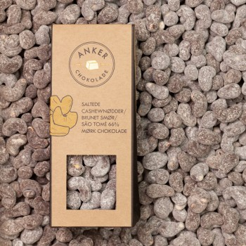Cashewnødder / brunet smør / flormelis / mørk chokolade