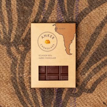 100gr Plade - Ecuador 80% mørk chokolade