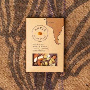 100gr Plade - Ecuador 70% mørk chokolade / abrikos / mandler / græskarkerner