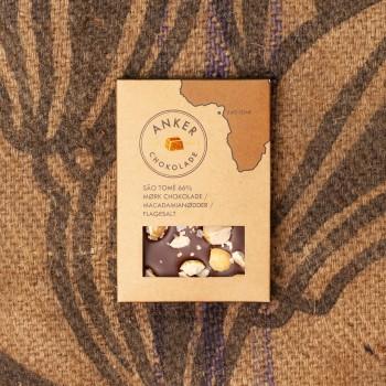 100gr Plade - São Tomé 66% mørk chokolade / macadamianødder / flagesalt